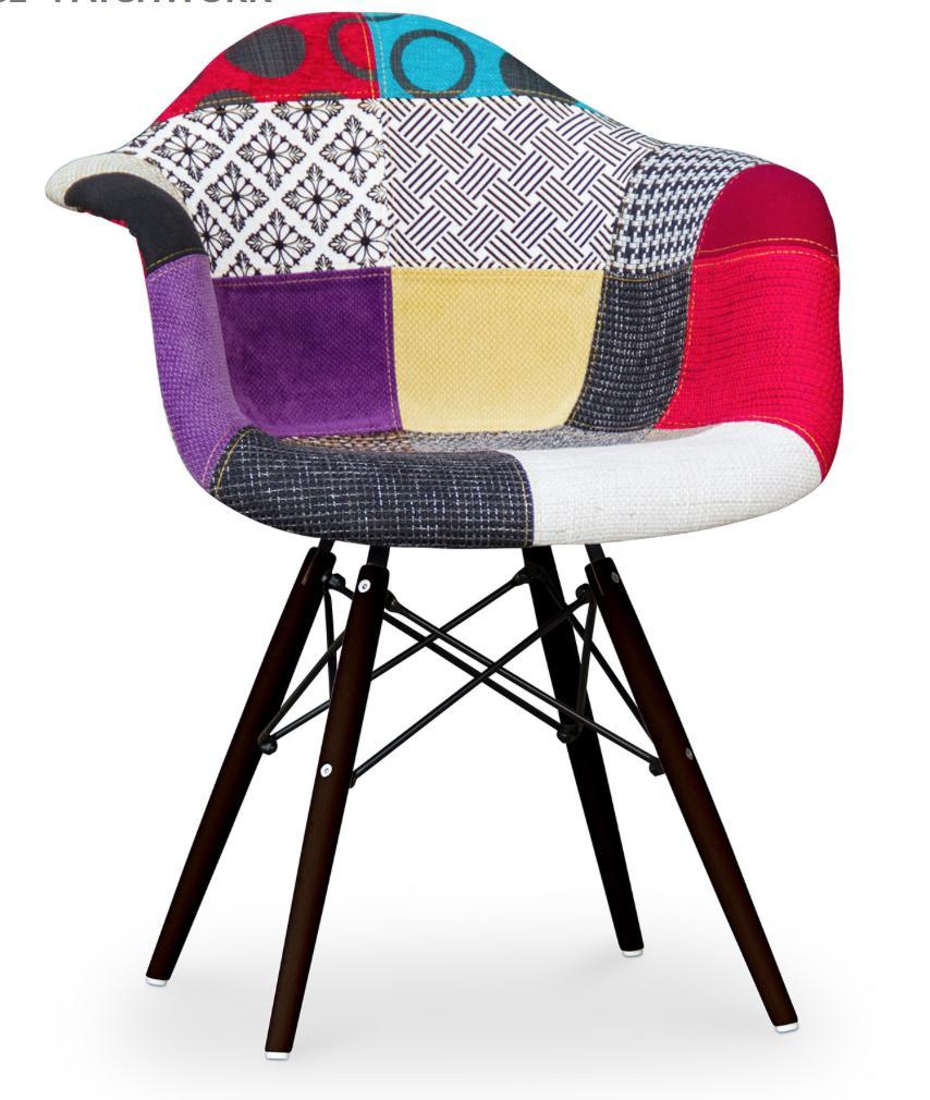 fauteuil scandinave patchwork pieds bois fonc inspir eero saarinen. Black Bedroom Furniture Sets. Home Design Ideas