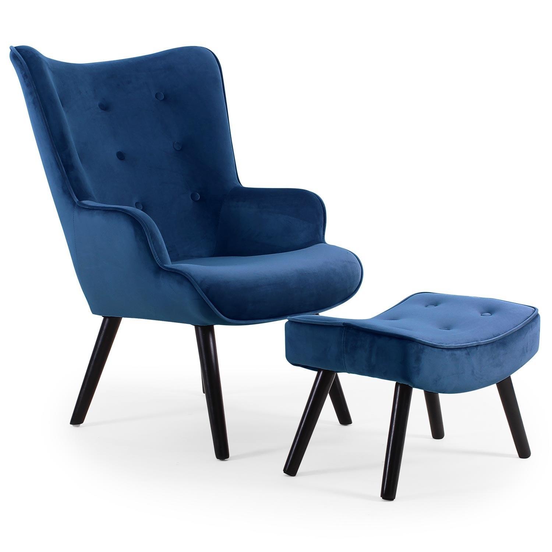 fauteuil scandinave avec repose pied velours bleu sonia. Black Bedroom Furniture Sets. Home Design Ideas