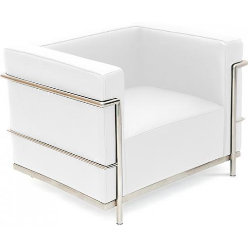 fauteuil simili blanc moderne inspir lc3 le corbusier. Black Bedroom Furniture Sets. Home Design Ideas