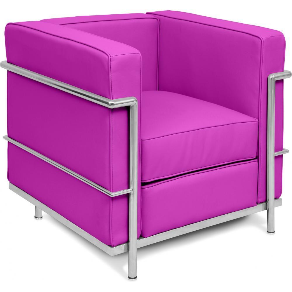 fauteuil simili cuir fuchsia inspir lc2 le corbusier. Black Bedroom Furniture Sets. Home Design Ideas