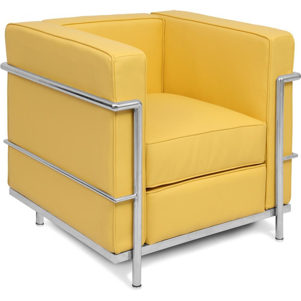 fauteuil simili cuir jaune inspir lc2 le corbusier. Black Bedroom Furniture Sets. Home Design Ideas