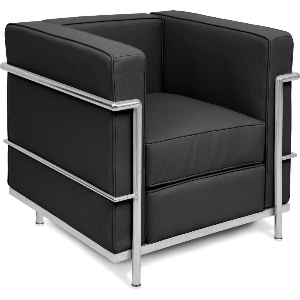 fauteuil simili cuir noir inspir lc2 le corbusier. Black Bedroom Furniture Sets. Home Design Ideas