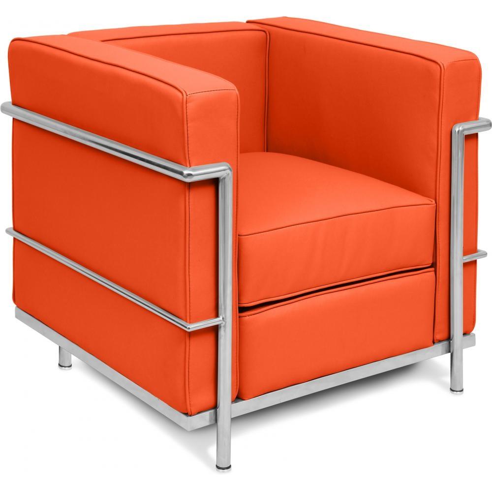 Fauteuil simili cuir orange inspir lc2 le corbusier - Fauteuil le corbusier prix ...