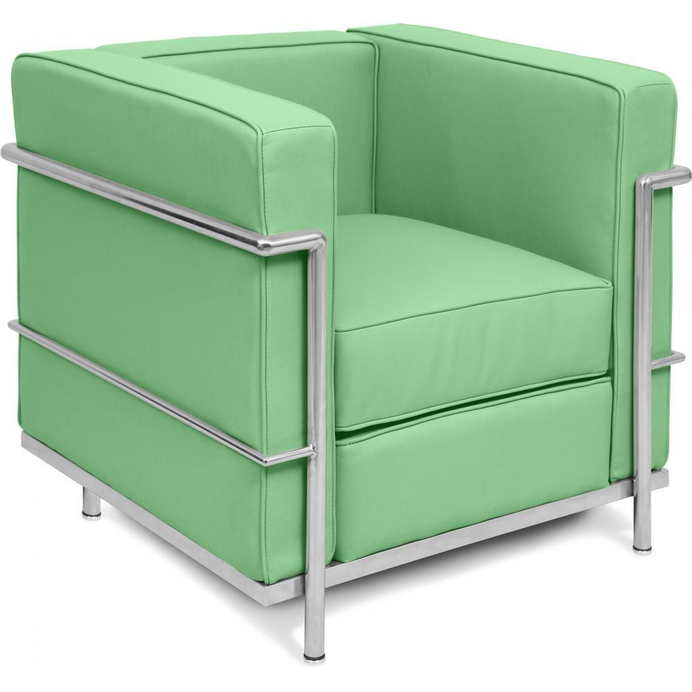 fauteuil simili cuir vert ciel inspir lc2 le corbusier. Black Bedroom Furniture Sets. Home Design Ideas