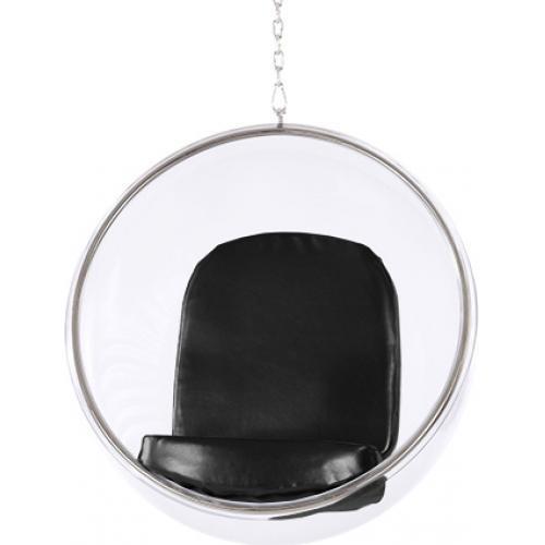 fauteuil suspendu insipir eero aarnio assise cuir couleur noir. Black Bedroom Furniture Sets. Home Design Ideas
