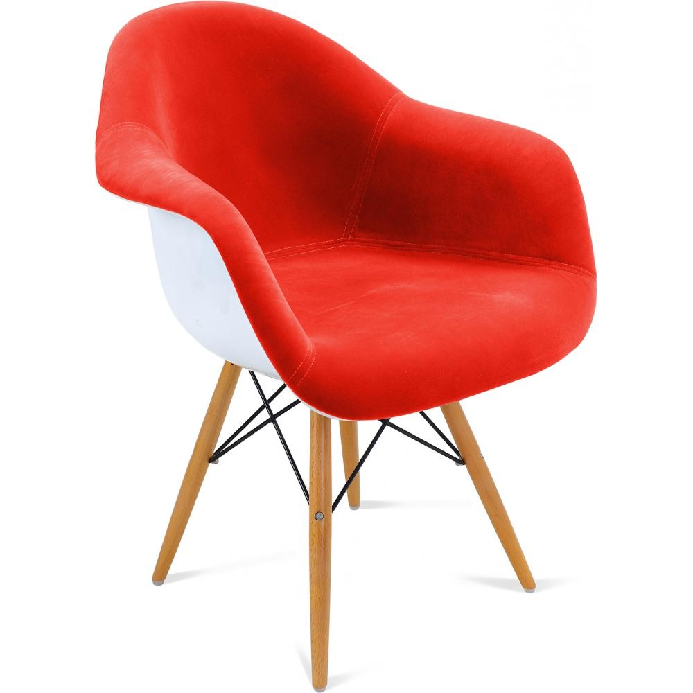 Fauteuil tissu rouge coque fibre de verre blanche inspir daw - Fauteuil fibre de verre ...
