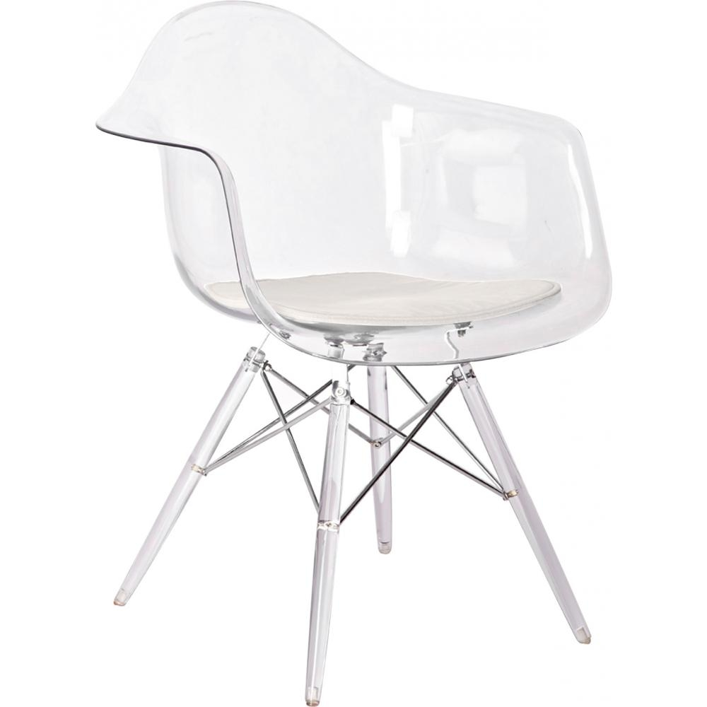 Fauteuil Transparent Assise Tissu Beige Inspire DSW