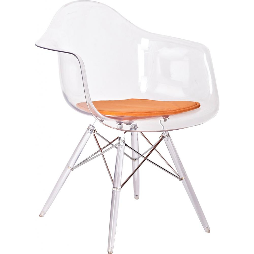 Fauteuil transparent assise tissu orange inspir dsw - Chaise dsw transparente ...