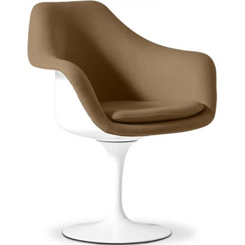 fauteuil tulipe blanc int rieur tissu marron. Black Bedroom Furniture Sets. Home Design Ideas