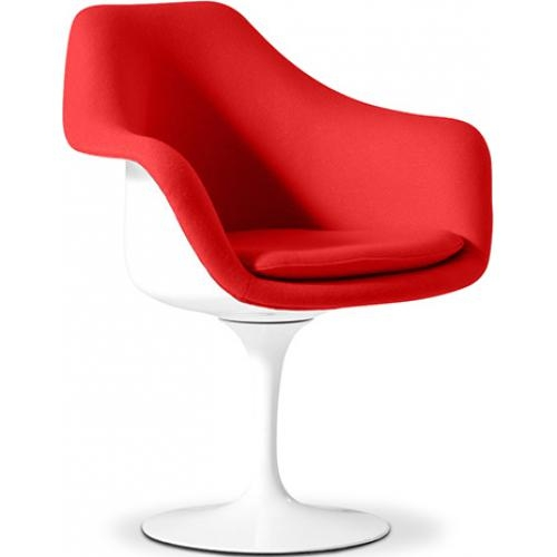 fauteuil tulipe fibre de verre blanc assise simili couleur rouge. Black Bedroom Furniture Sets. Home Design Ideas