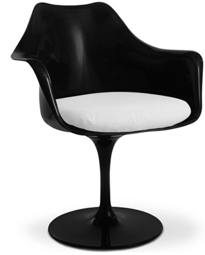 fauteuil tulipe pivotante fibre de verre noir assise cuir blanc. Black Bedroom Furniture Sets. Home Design Ideas