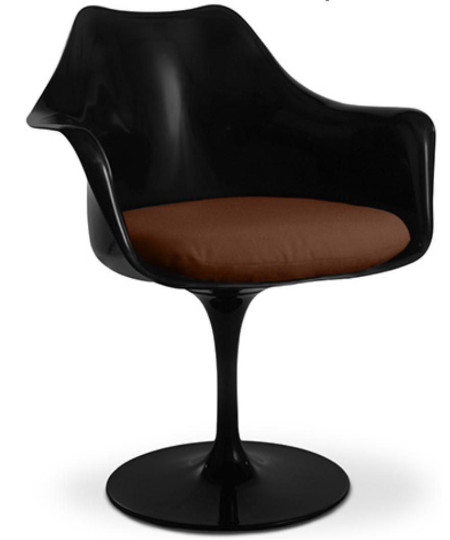 fauteuil tulipe pivotante fibre de verre noir assise cuir. Black Bedroom Furniture Sets. Home Design Ideas