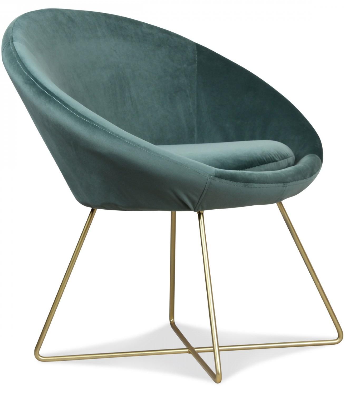 fauteuil velours vert et pieds m tal dor bony. Black Bedroom Furniture Sets. Home Design Ideas