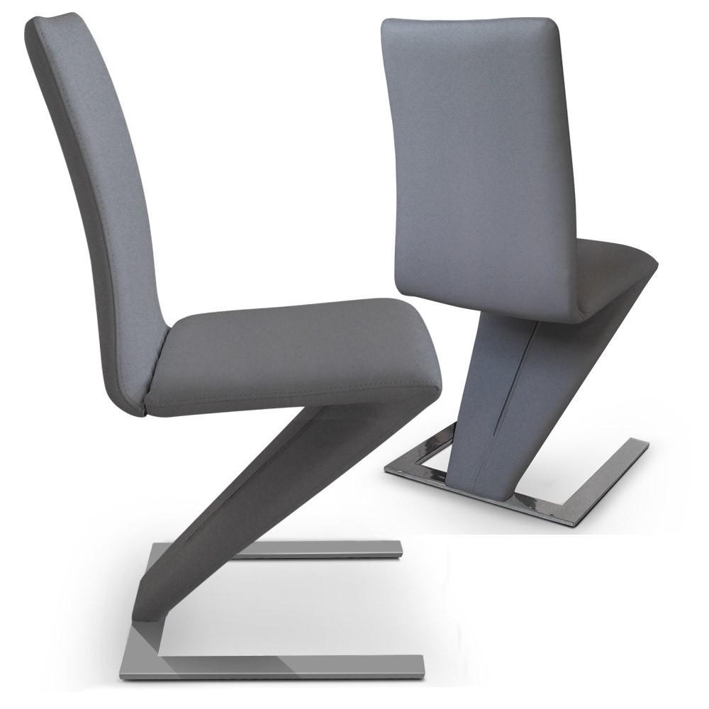 chaise design simili gris vogue lot de 2. Black Bedroom Furniture Sets. Home Design Ideas