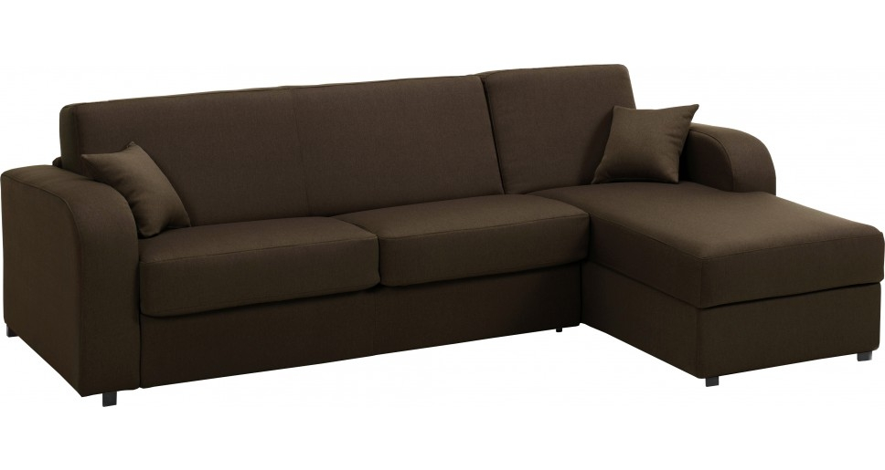 Canap d angle rapido convertible tissu marron d houssable for Canape d angle convertible couchage quotidien