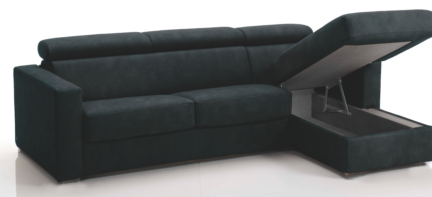 canap d 39 angle convertible avec t ti res rev tement microfibre noir lova mod le 3 places maxi. Black Bedroom Furniture Sets. Home Design Ideas