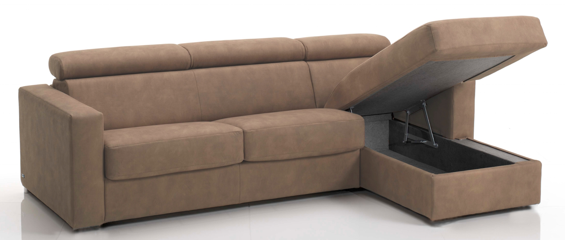 canap d 39 angle convertible avec t ti res rev tement tissu taupe fonc lova mod le 3 places maxi. Black Bedroom Furniture Sets. Home Design Ideas