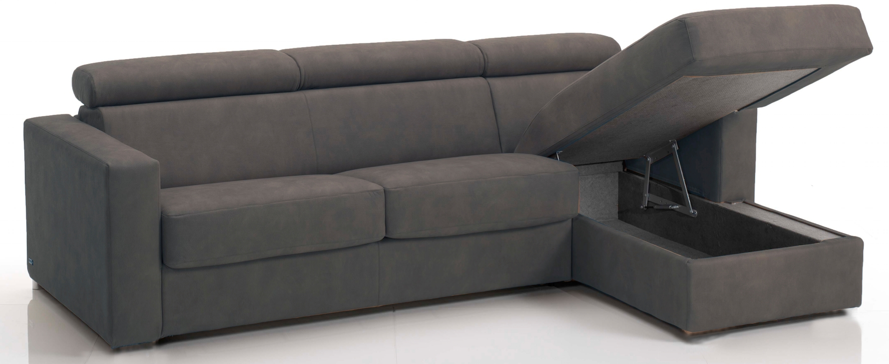 canap d 39 angle convertible avec t ti res rev tement tissu gris fonc lova. Black Bedroom Furniture Sets. Home Design Ideas