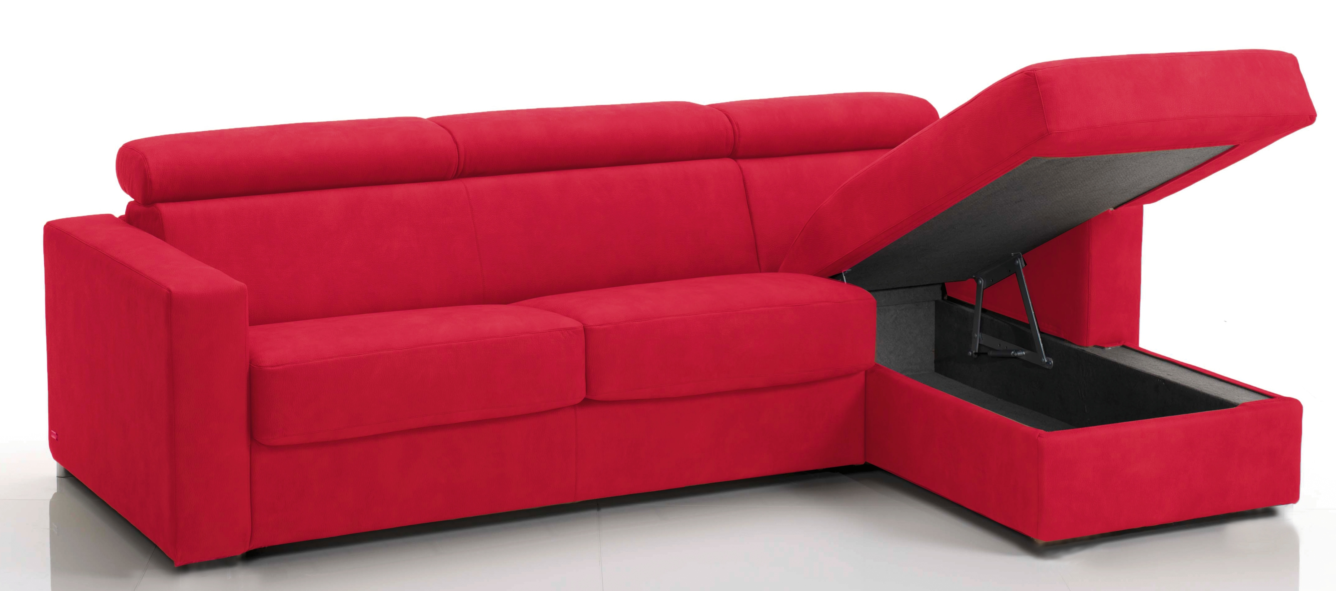 canap d 39 angle convertible avec t ti res rev tement microfibre rouge lova. Black Bedroom Furniture Sets. Home Design Ideas