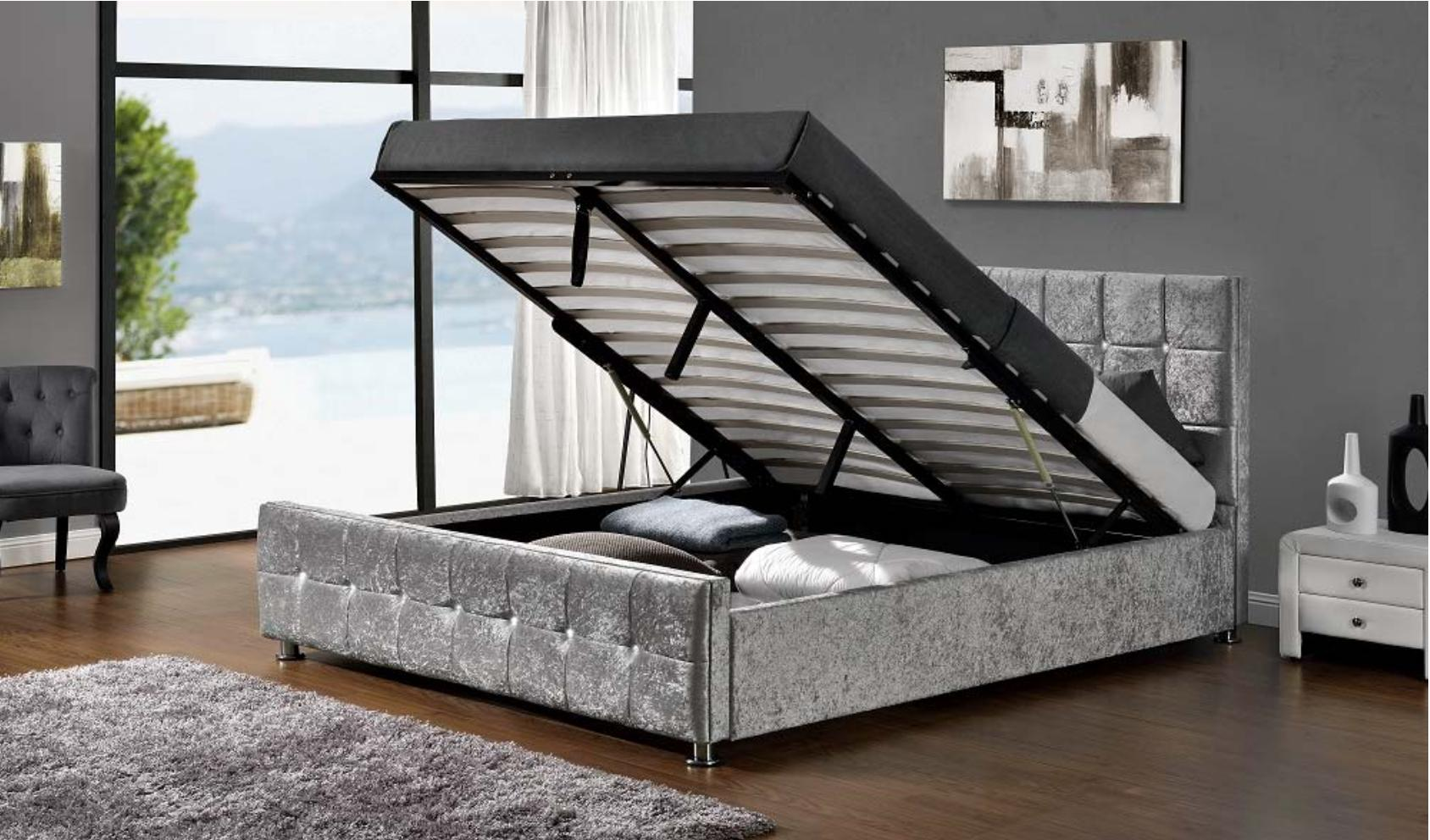 lit coffre capitonn velours argent 140 kim. Black Bedroom Furniture Sets. Home Design Ideas