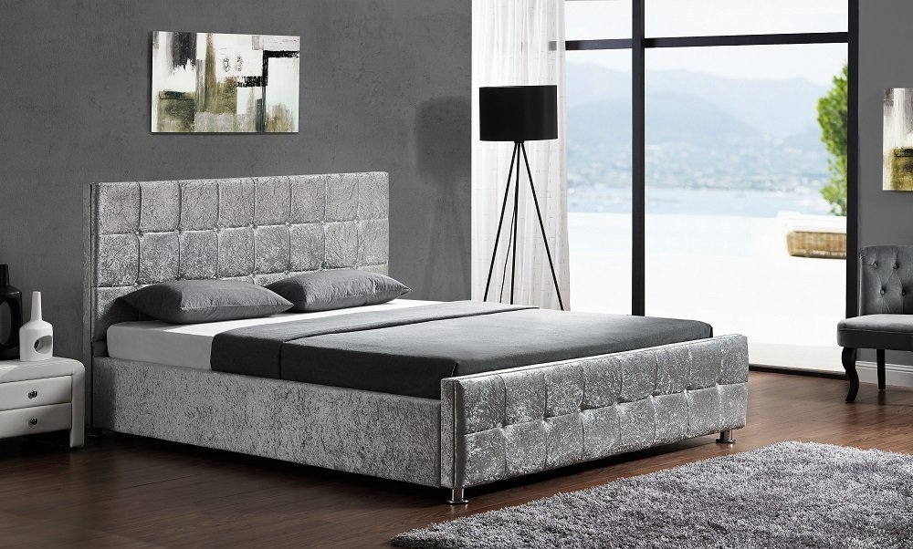 lit coffre capitonn velours argent 160 kim matelas. Black Bedroom Furniture Sets. Home Design Ideas