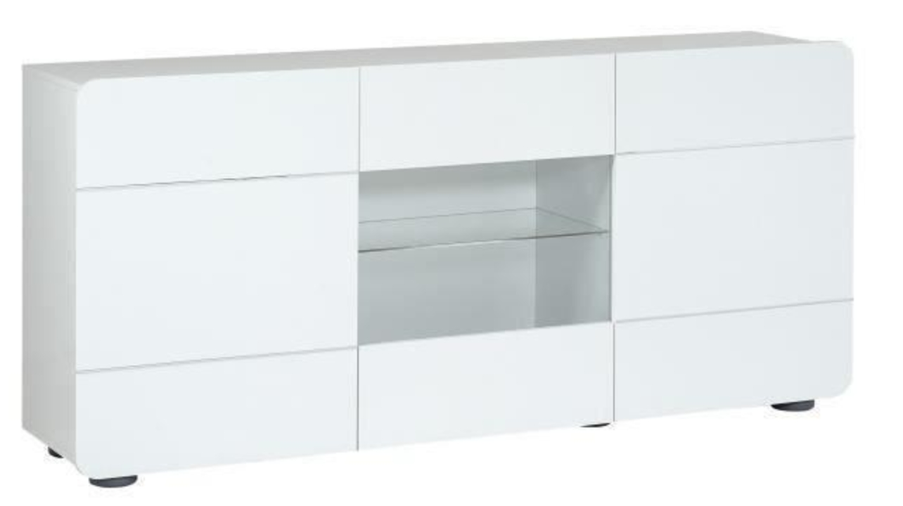 grand buffet 3 portes laqu blanc brillant led sanow mod le sans led. Black Bedroom Furniture Sets. Home Design Ideas