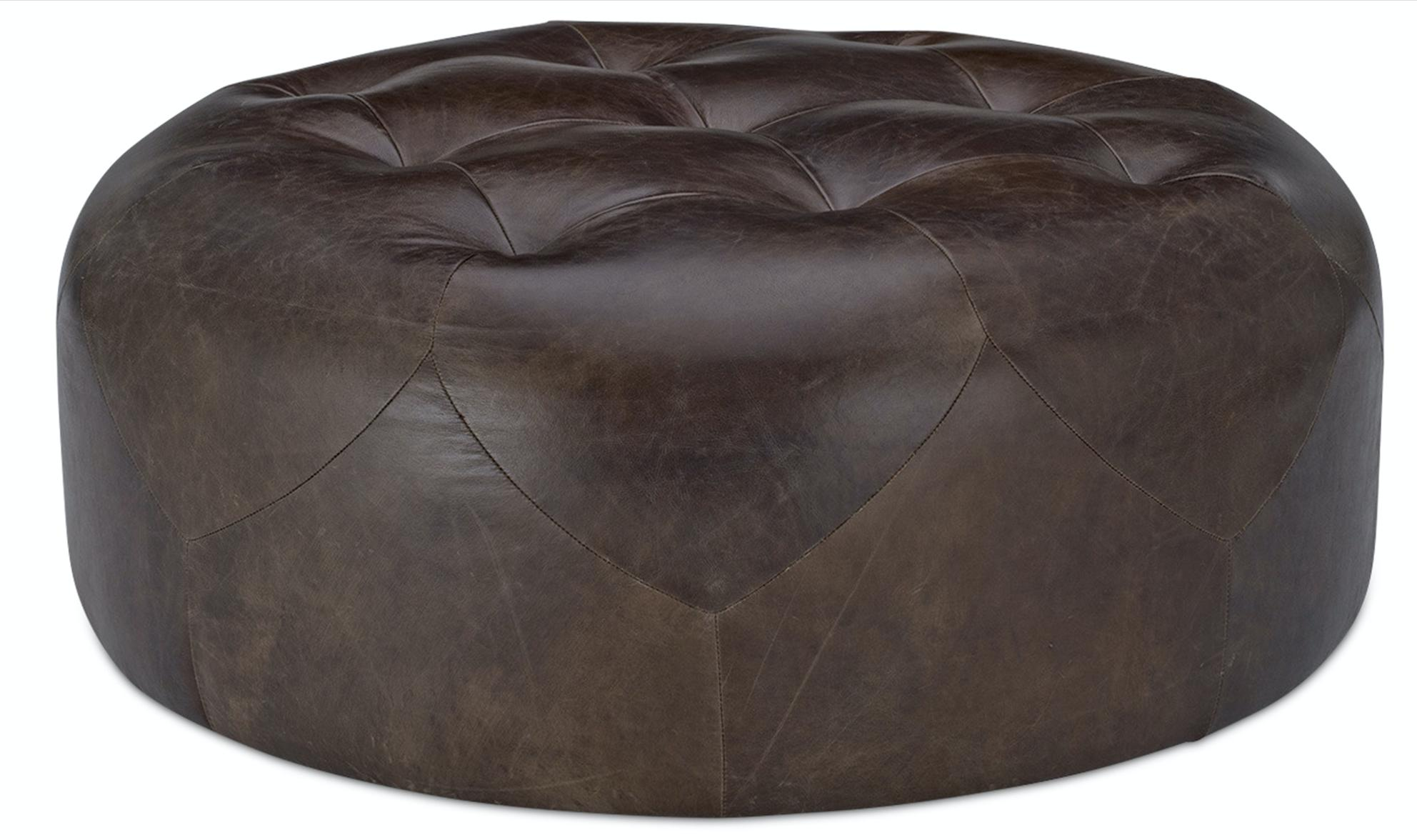grand pouf capitonn cuir marron. Black Bedroom Furniture Sets. Home Design Ideas
