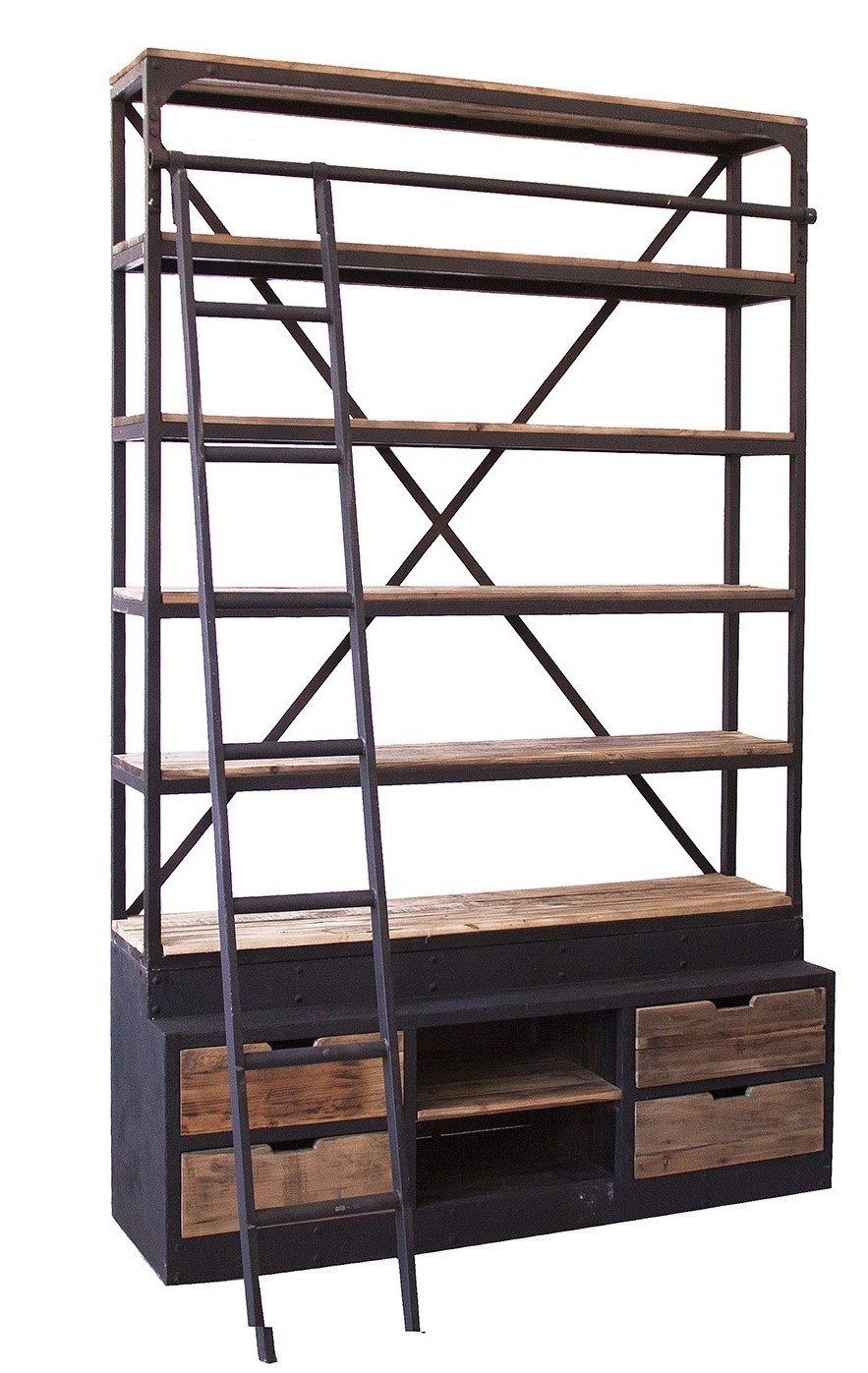 grande biblioth que avec chelle vintage bois de pin naturel et m tal noir punky. Black Bedroom Furniture Sets. Home Design Ideas