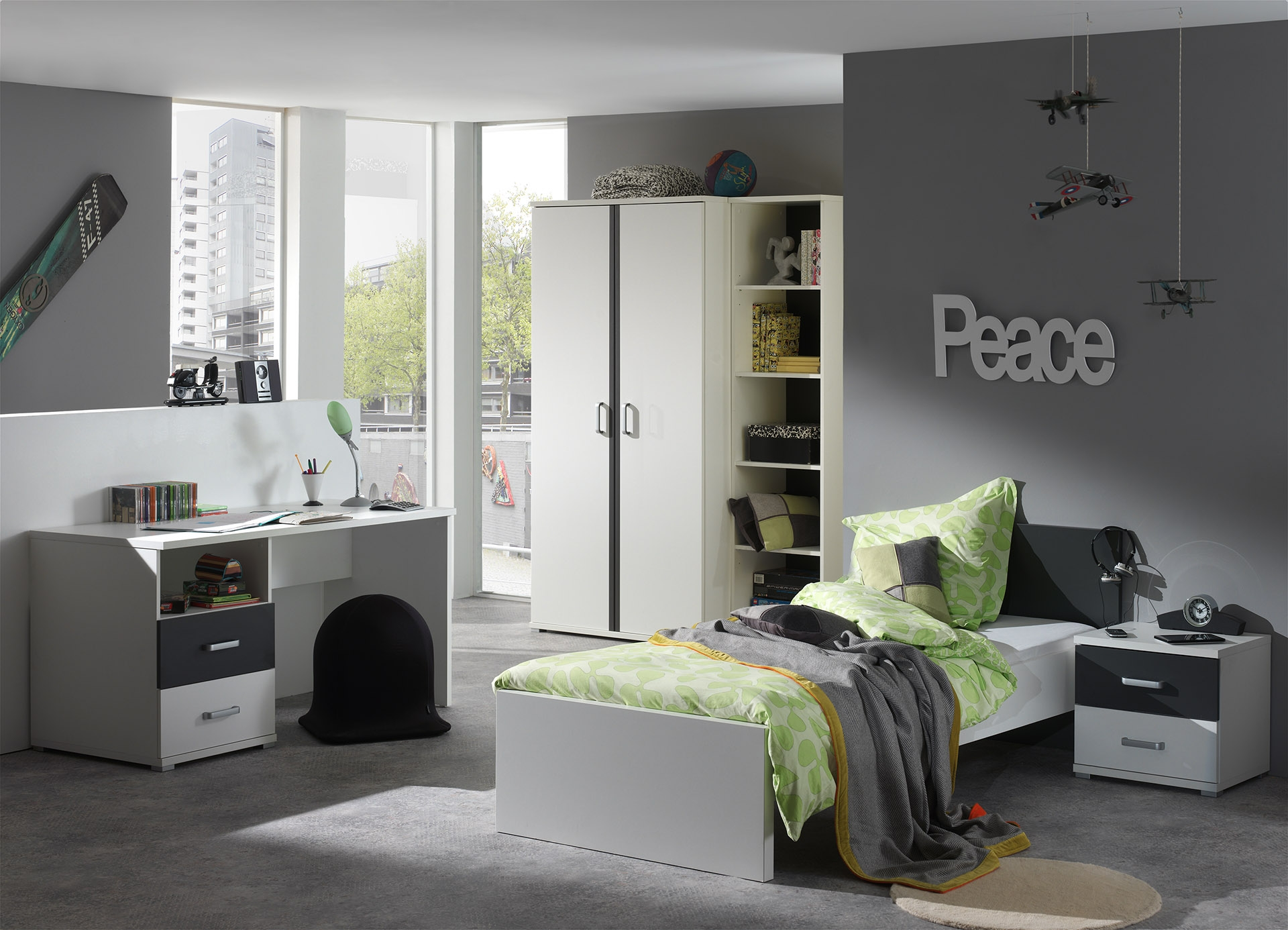 grande chambre blanc et gris kuzo. Black Bedroom Furniture Sets. Home Design Ideas