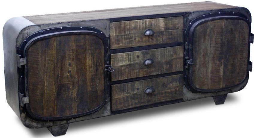 meuble tv acier et bois industriel ranger. Black Bedroom Furniture Sets. Home Design Ideas