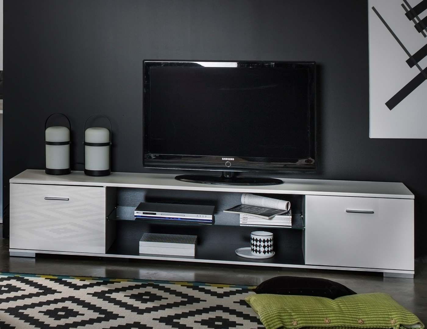 banc tv blanc brillant et verre tremp city. Black Bedroom Furniture Sets. Home Design Ideas