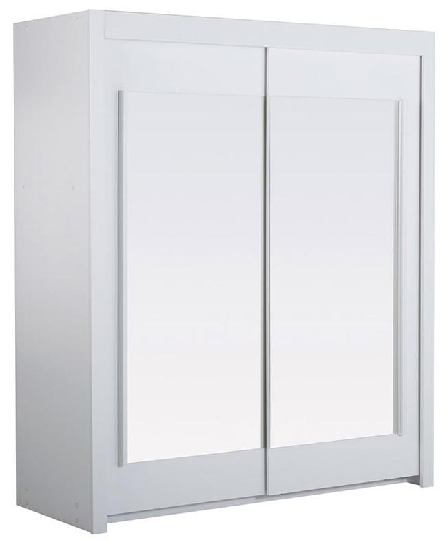 armoire bois blanc 2 portes coulissantes avec miroir home 156. Black Bedroom Furniture Sets. Home Design Ideas