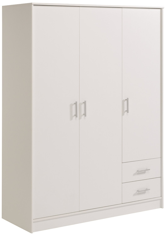 Armoire 3 portes 2 tiroirs Blanc Tifany - LesTendances.fr