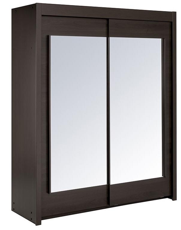 Armoire bois caf 2 portes coulissantes avec miroir home - Armoire coulissante avec miroir ...