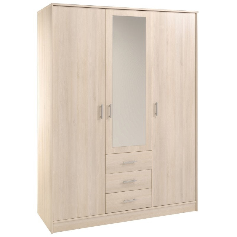 armoire bois naturel 3 portes 1 miroir home 148. Black Bedroom Furniture Sets. Home Design Ideas