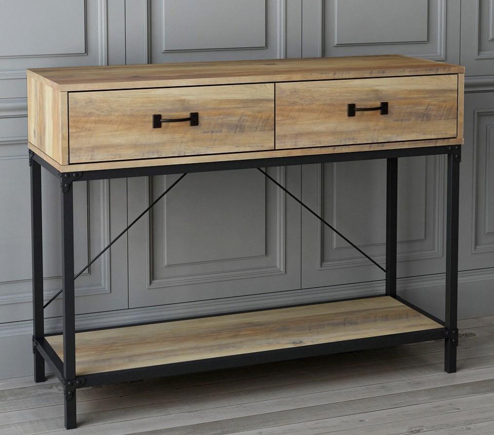 console 2 tiroirs ch ne et m tal noir mintak. Black Bedroom Furniture Sets. Home Design Ideas