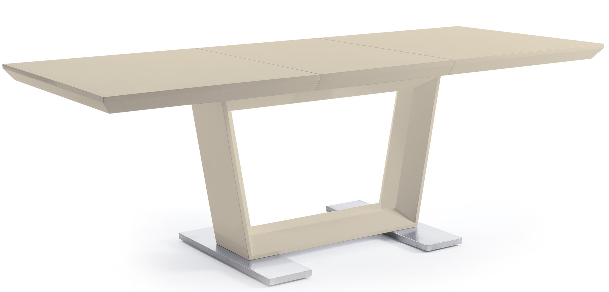 Table rectangulaire rallonge design cr me modena - Table rallonge design ...