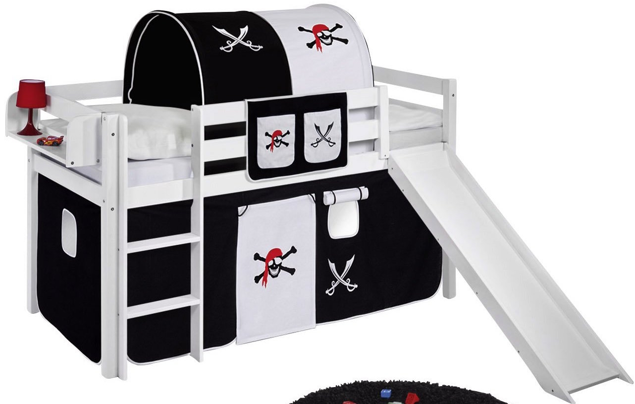 lit sur lev blanc laqu rideau pirate noir et toboggan. Black Bedroom Furniture Sets. Home Design Ideas