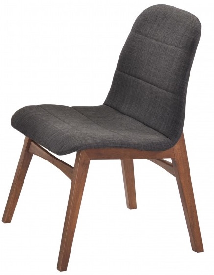 Chaise tissu gris et bois noyer kenja lot de 2 for Chaise 87 cm