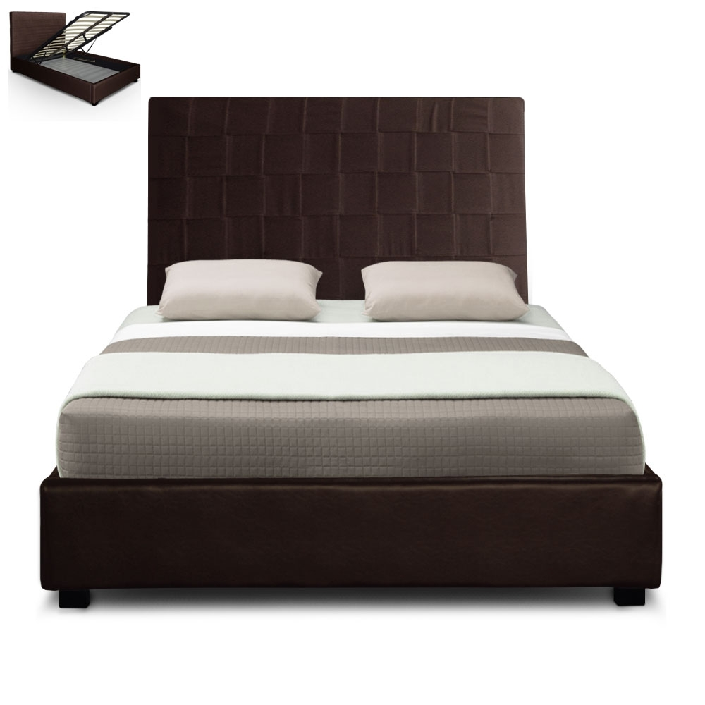 lit coffre coutures damier couleur marron couchage 140 x 190 cm. Black Bedroom Furniture Sets. Home Design Ideas