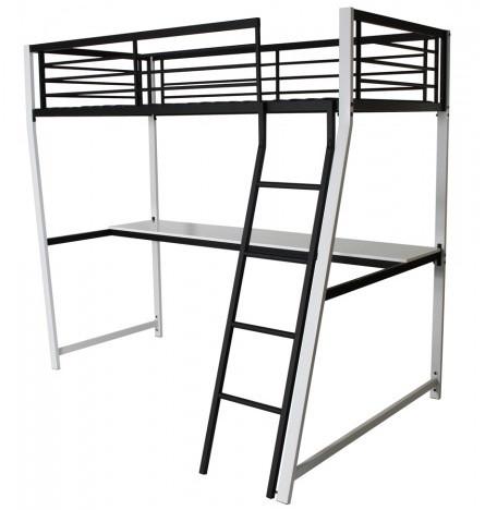 lit mezzanine metal blanc noir 90 karly. Black Bedroom Furniture Sets. Home Design Ideas