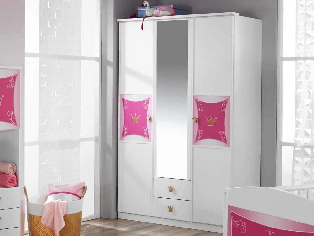armoire 3 portes miroir princesse naty. Black Bedroom Furniture Sets. Home Design Ideas