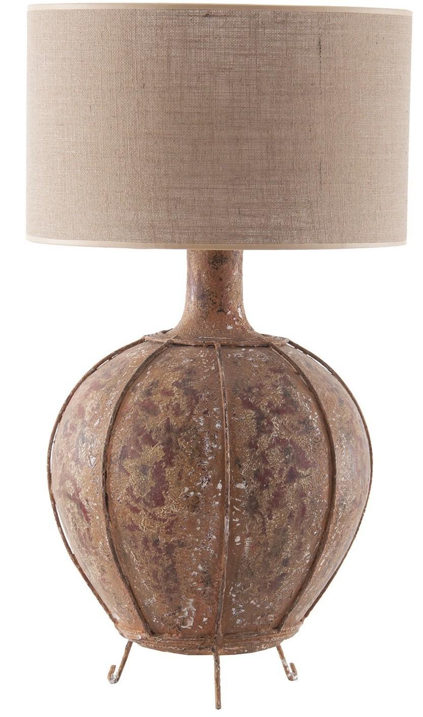 lampe poser terre cuite marron et tissu beige vieilli maxens. Black Bedroom Furniture Sets. Home Design Ideas
