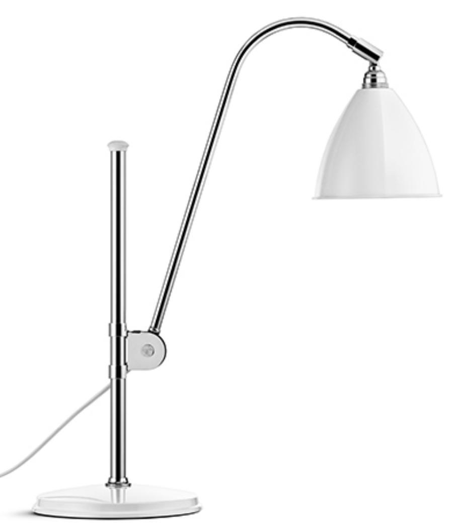 lampe blanche acier chrom inspir e robert dudley. Black Bedroom Furniture Sets. Home Design Ideas