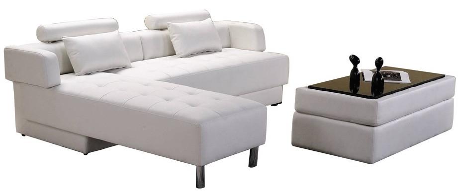Canapé DAngle Cuir Blanc Réversible Et Convertible Largo - Canape en cuir blanc convertible
