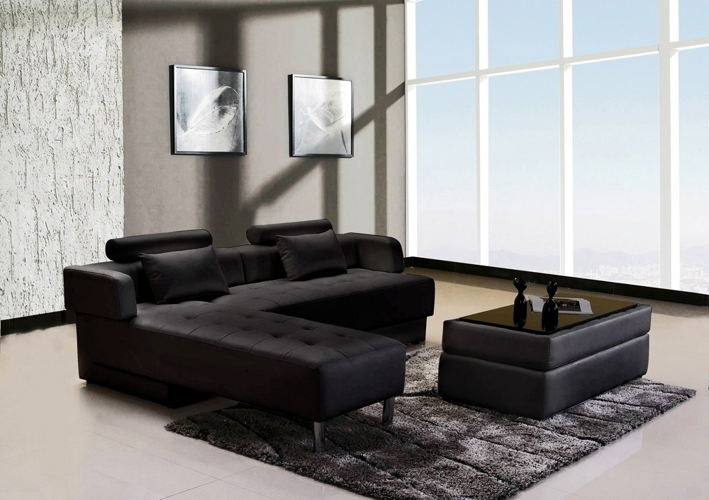 canap d 39 angle cuir noir r versible et convertible largo. Black Bedroom Furniture Sets. Home Design Ideas