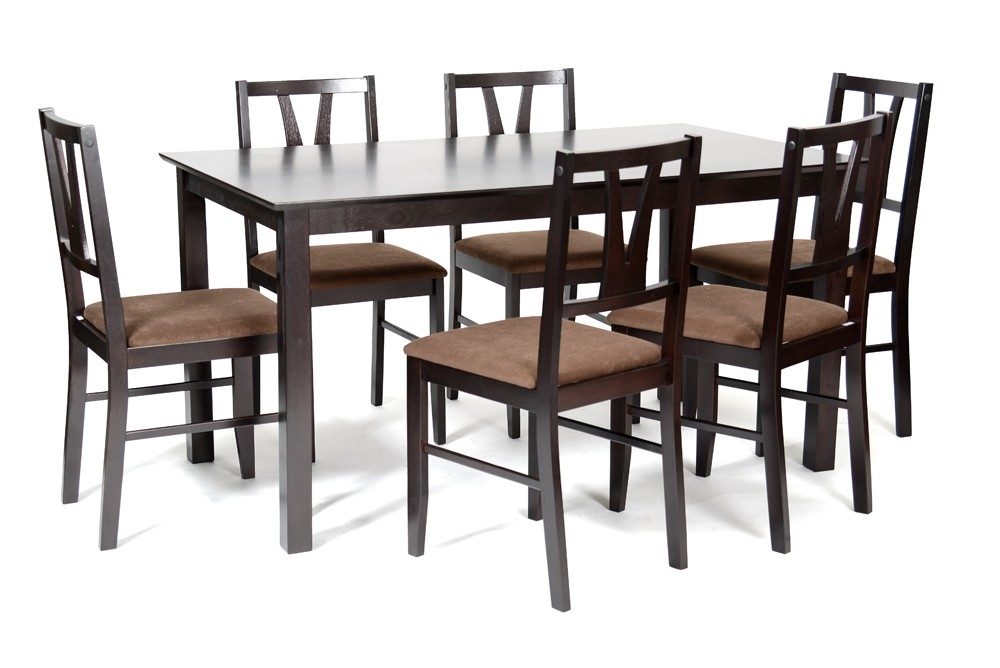 Ensemble table 6 chaises weng chocolat binota for Table 6 chaises but