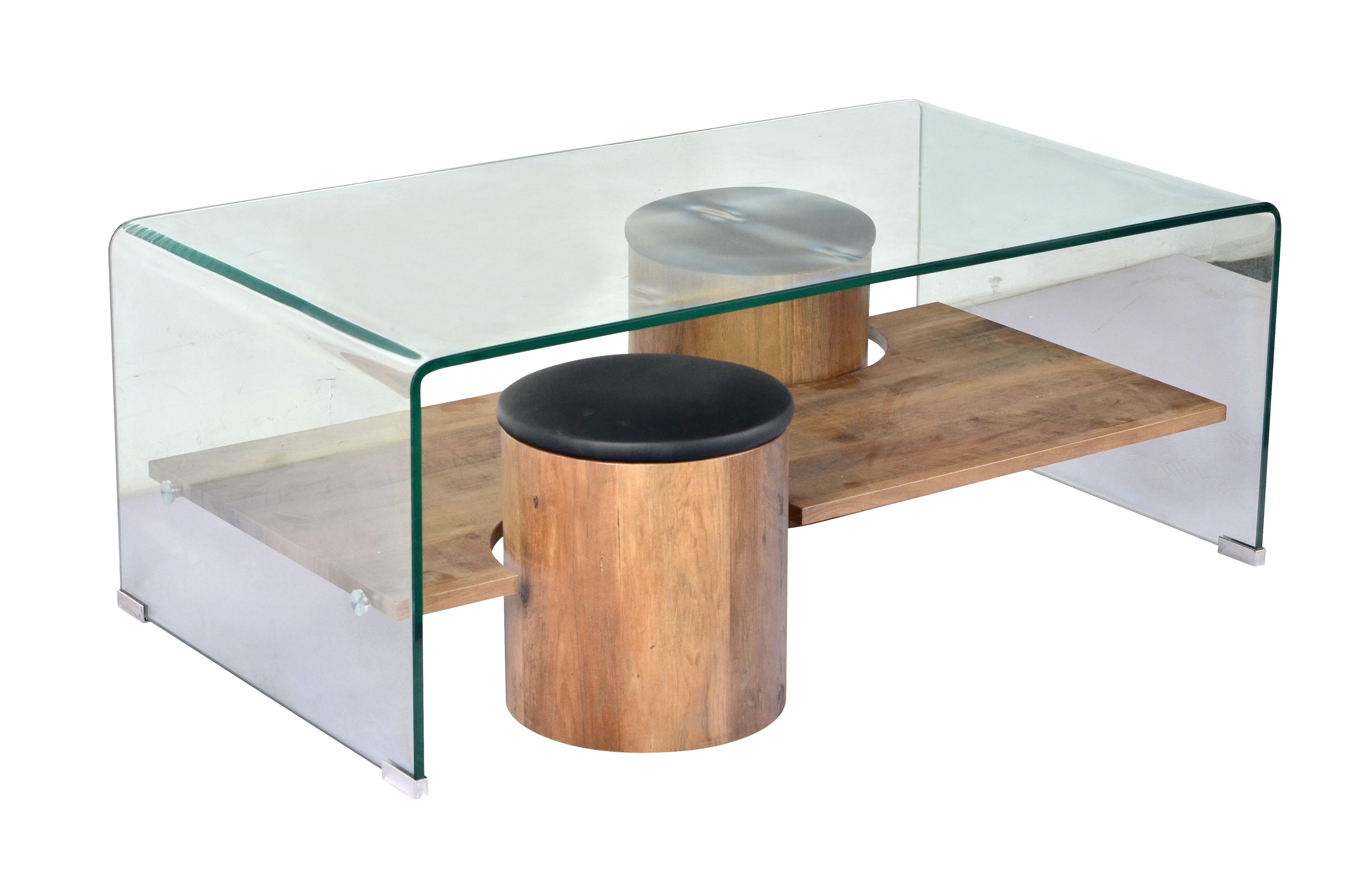 table basse verre tremp ch ne naturel 2 poufs topy. Black Bedroom Furniture Sets. Home Design Ideas