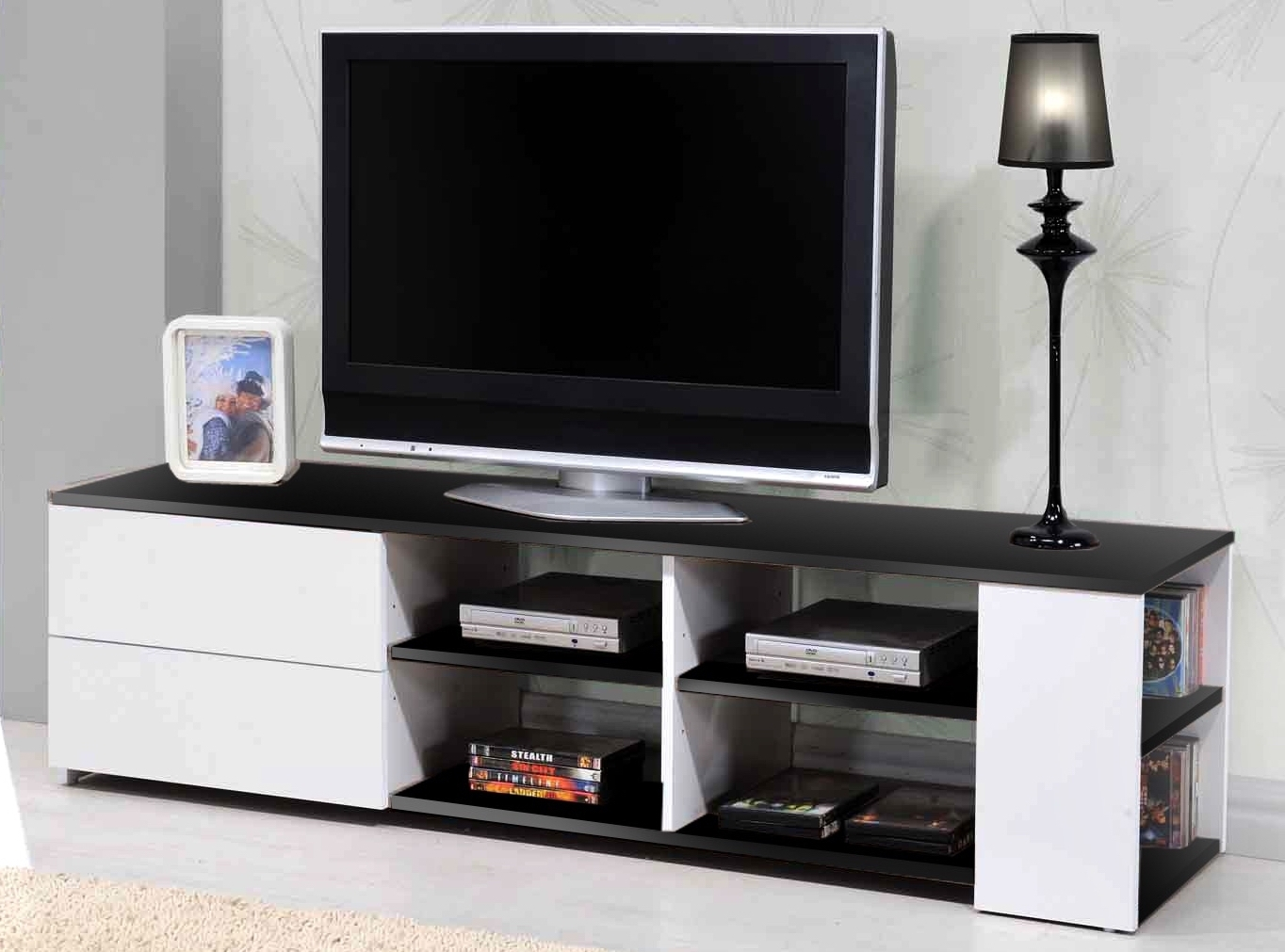 meuble tv 2 tiroirs noir et blanc atly. Black Bedroom Furniture Sets. Home Design Ideas