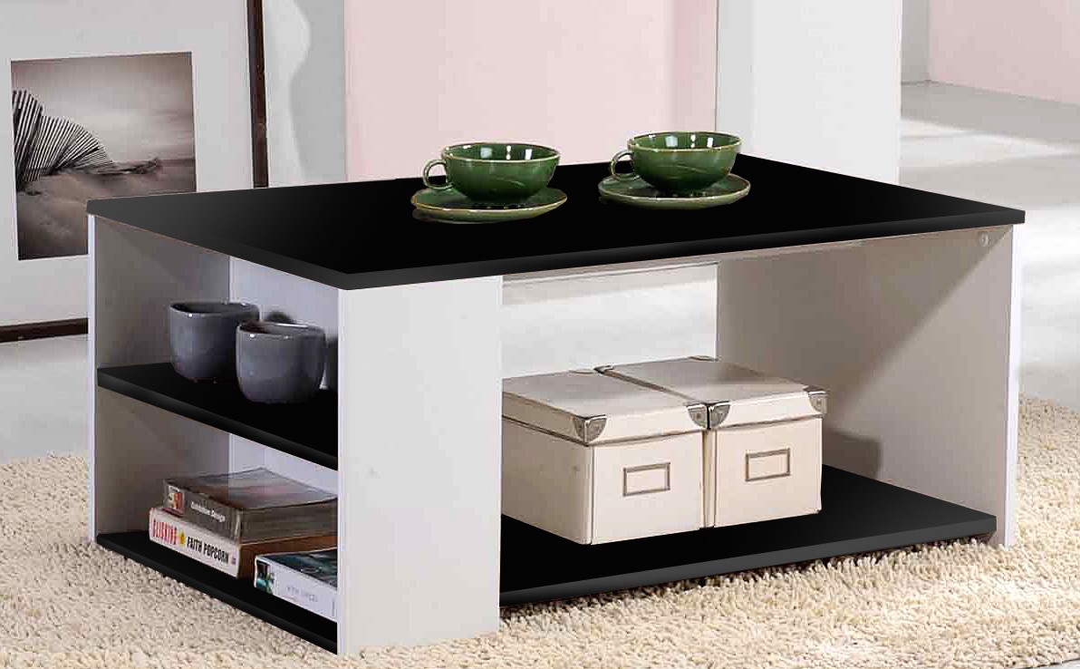 table basse noir et blanc laqu e atly. Black Bedroom Furniture Sets. Home Design Ideas